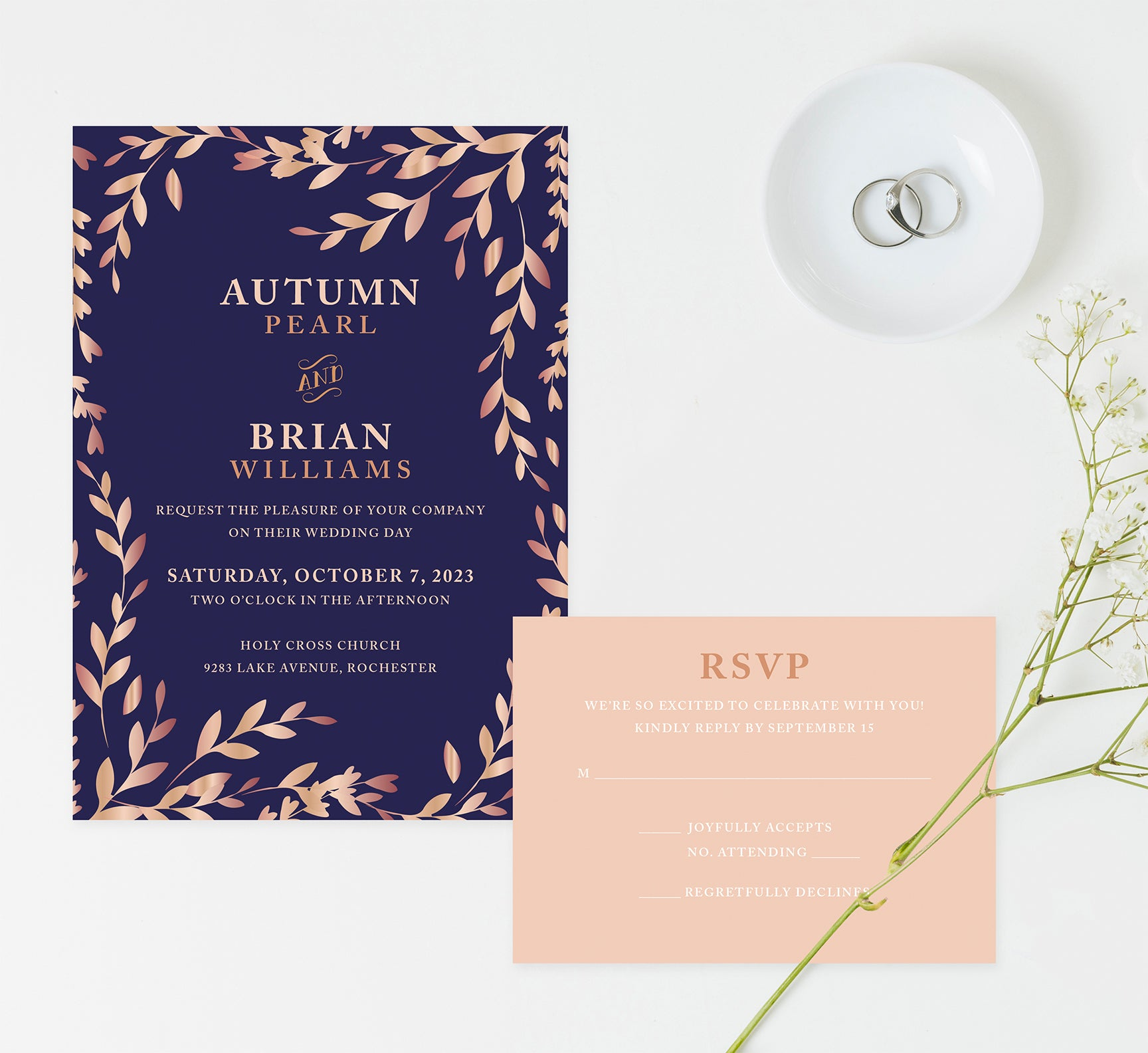 Rose Gold Leaves wedding invitation and set