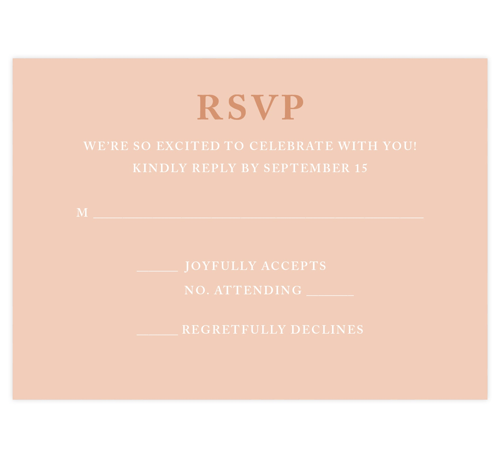 Rose Gold wedding response card; pink background with rose gold and white text