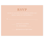 Load image into Gallery viewer, Rose Gold wedding response card; pink background with rose gold and white text
