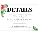 Load image into Gallery viewer, Watercolor Roses wedding accommodations/details card; white background with big roses and black text
