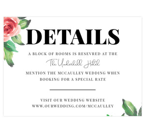 Watercolor Roses wedding accommodations/details card; white background with big roses and black text