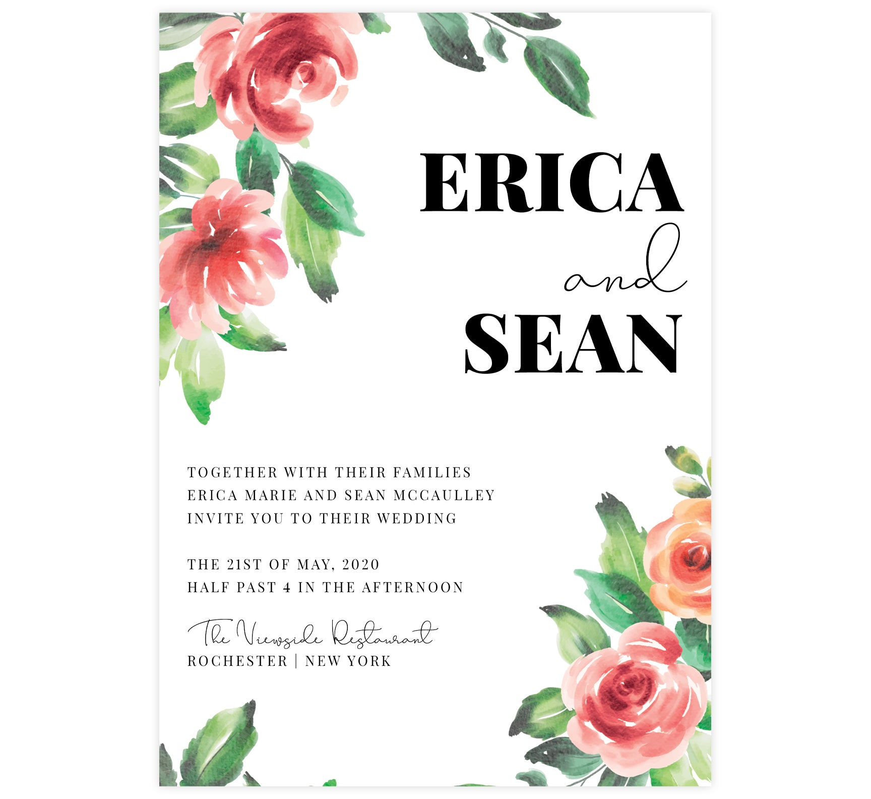 Watercolor roses wedding invitation; white background with big bold pink roses, green leaves and black text