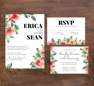 Watercolor Roses wedding invitation and set