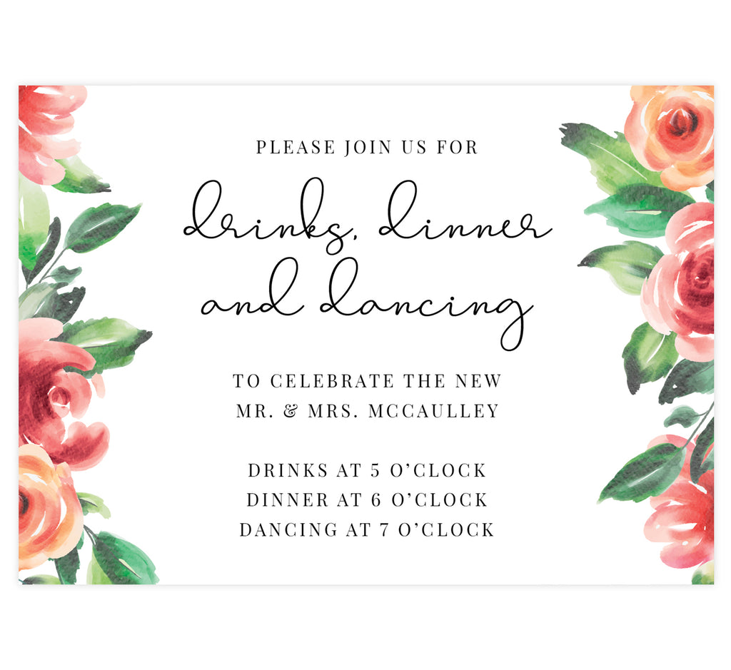 Watercolor roses wedding reception card; white background with roses on the sides and black text