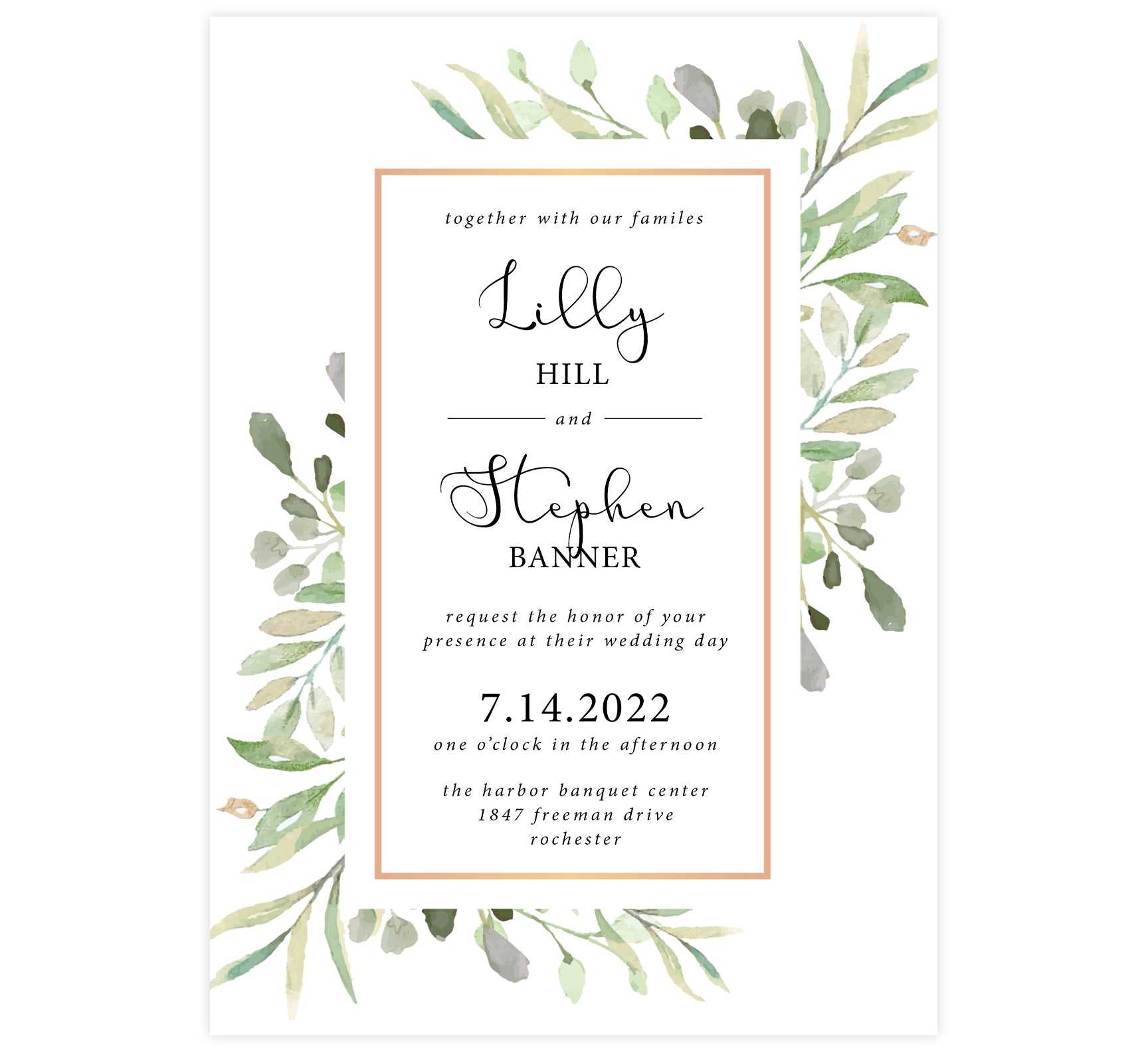 Frame of Leaves Wedding Invitation; white background with watercolor leaves, gold frame and black text