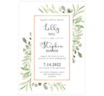 Load image into Gallery viewer, Frame of Leaves Wedding Invitation; white background with watercolor leaves, gold frame and black text