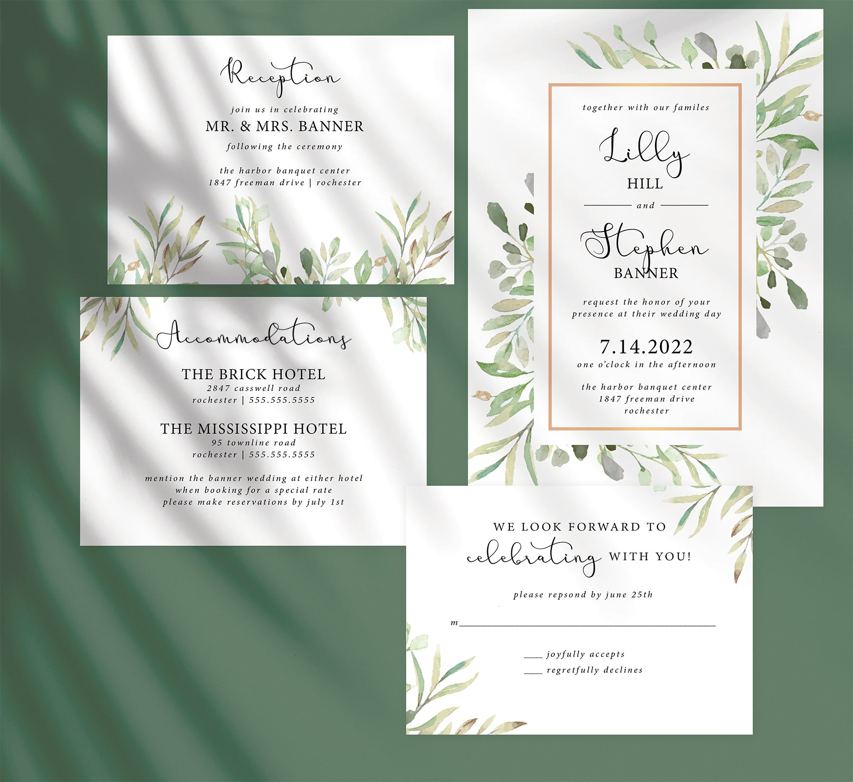 Frame of Leaves Wedding Invitation and Set Mockup