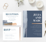Load image into Gallery viewer, Blue and Gold Watercolor wedding invitation and set mockup