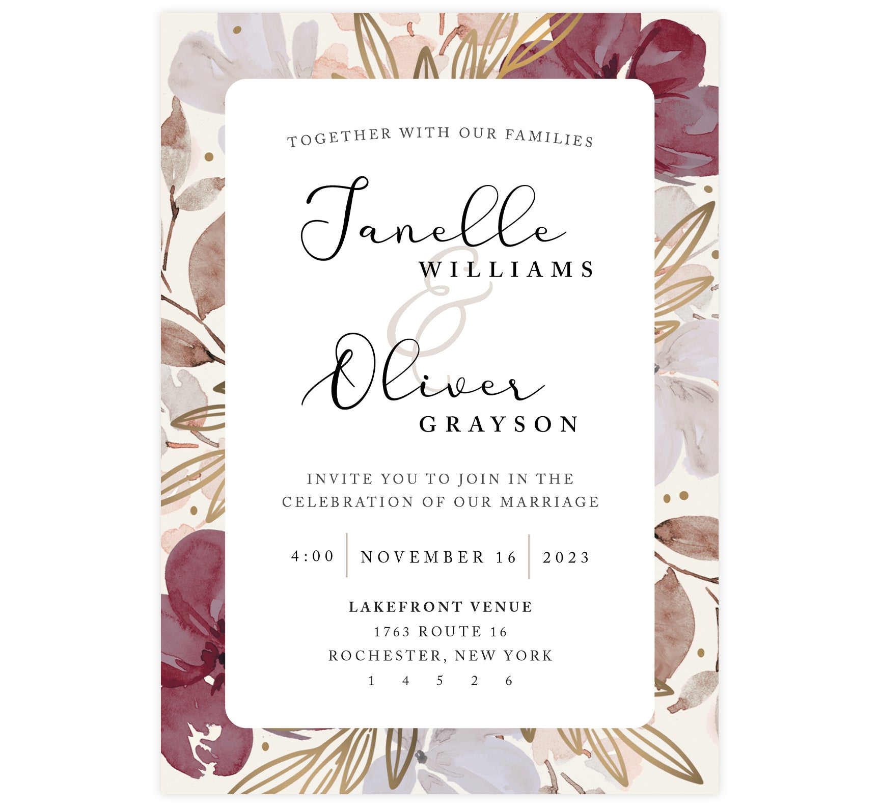 Floral Love Wedding Invitation, maroon gold and tan frame with large names