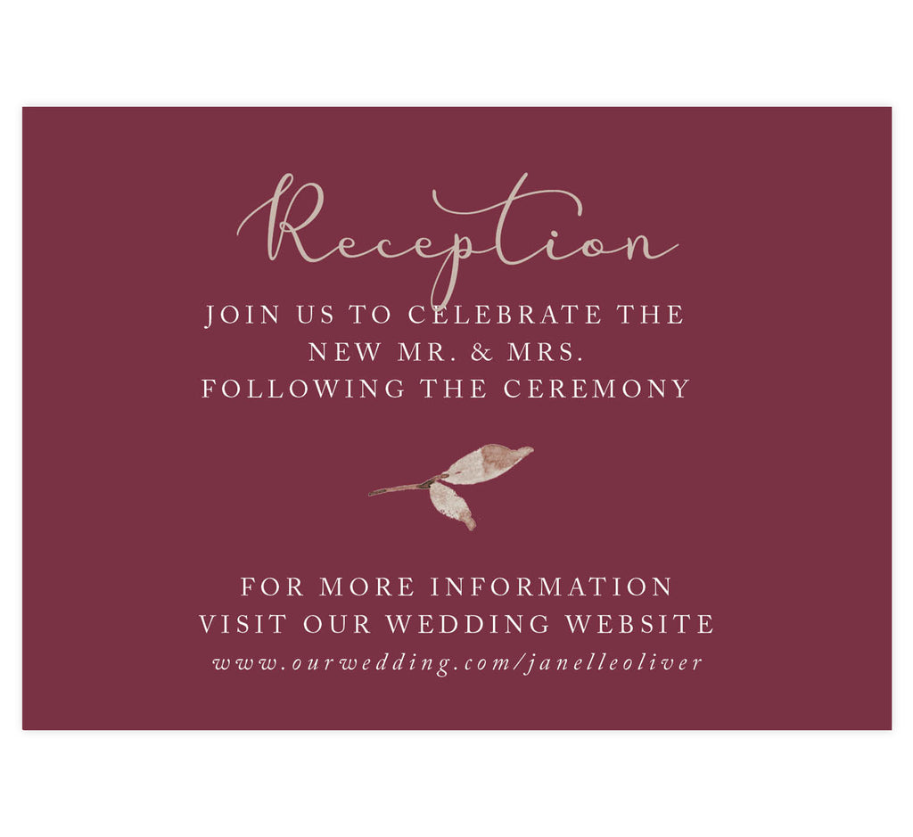 Floral Love Wedding Reception Card, maroon background with gold and white text