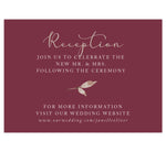 Load image into Gallery viewer, Floral Love Wedding Reception Card, maroon background with gold and white text