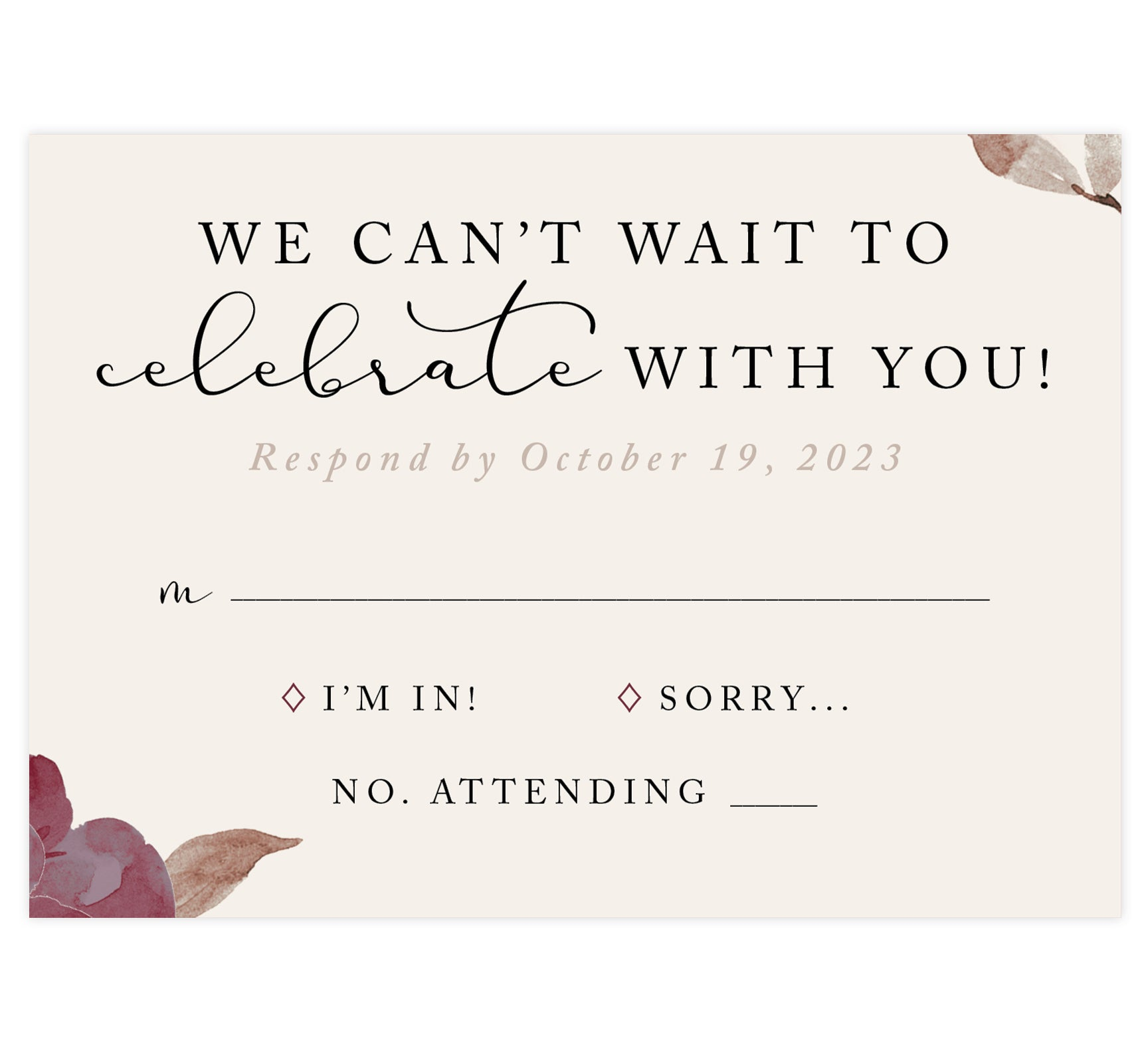 Floral Love Wedding RSVP Card, cream background with black text