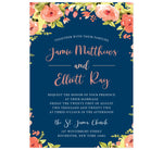 Load image into Gallery viewer, Blushing Rose Wedding Invitation, navy background with pink florals and pink and white text