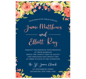 Blushing Rose Wedding Invitation, navy background with pink florals and pink and white text