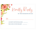 Load image into Gallery viewer, Blushing Rose Wedding Invitation, white background with pink florals and pink and navy text