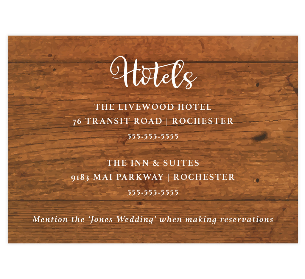 Rustic Glow wedding accommodations/details card; woodgrain background with white text