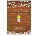 Load image into Gallery viewer, Rustic Glow wedding invitation; woodgrain background with string lights at the top, lace at the bottom edge. White text and yellow flowers