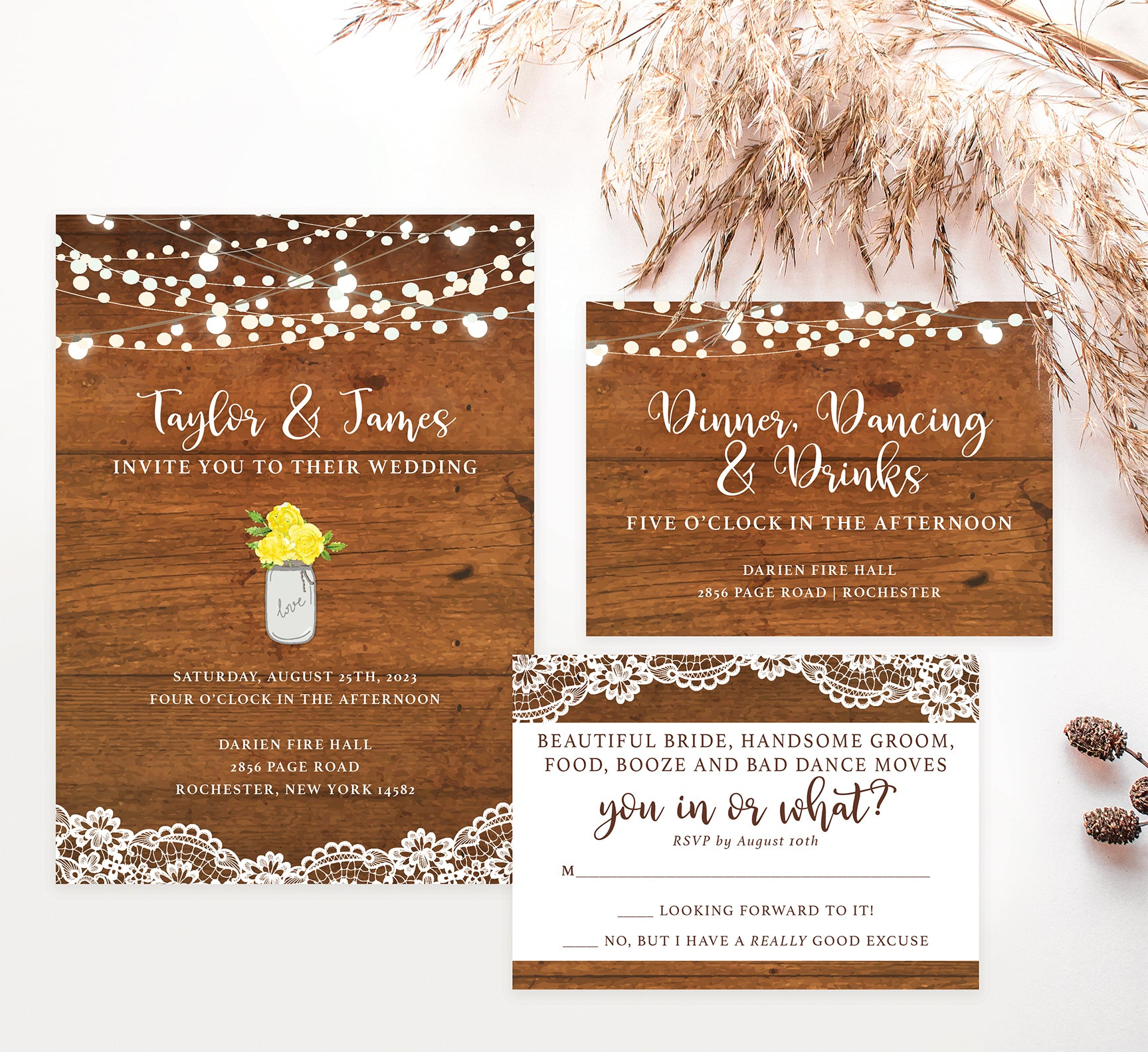 Rustic Glow wedding invitation and set