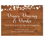 Load image into Gallery viewer, Rustic Glow wedding reception card; brown wood grain background with string lights on the top edge and white text