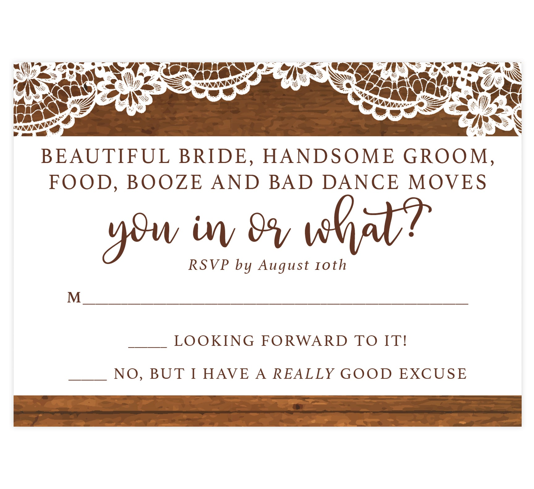 Rustic Glow Wedding Invitation; wood on the top and bottom edges with lace on the top and brown text