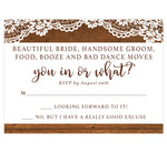 Load image into Gallery viewer, Rustic Glow Wedding Invitation; wood on the top and bottom edges with lace on the top and brown text