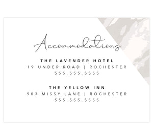Coral Color Pop Wedding Accommodations/Details Card, White background with marble corner and black text
