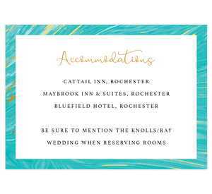 Teal and gold marble wedding accommodations/details card; white background with marble teal and gold frame on the outside edges, black and gold text