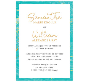 Teal and gold marble wedding invitation; white background with marble teal and gold frame on the outside edges, black text with names in gold