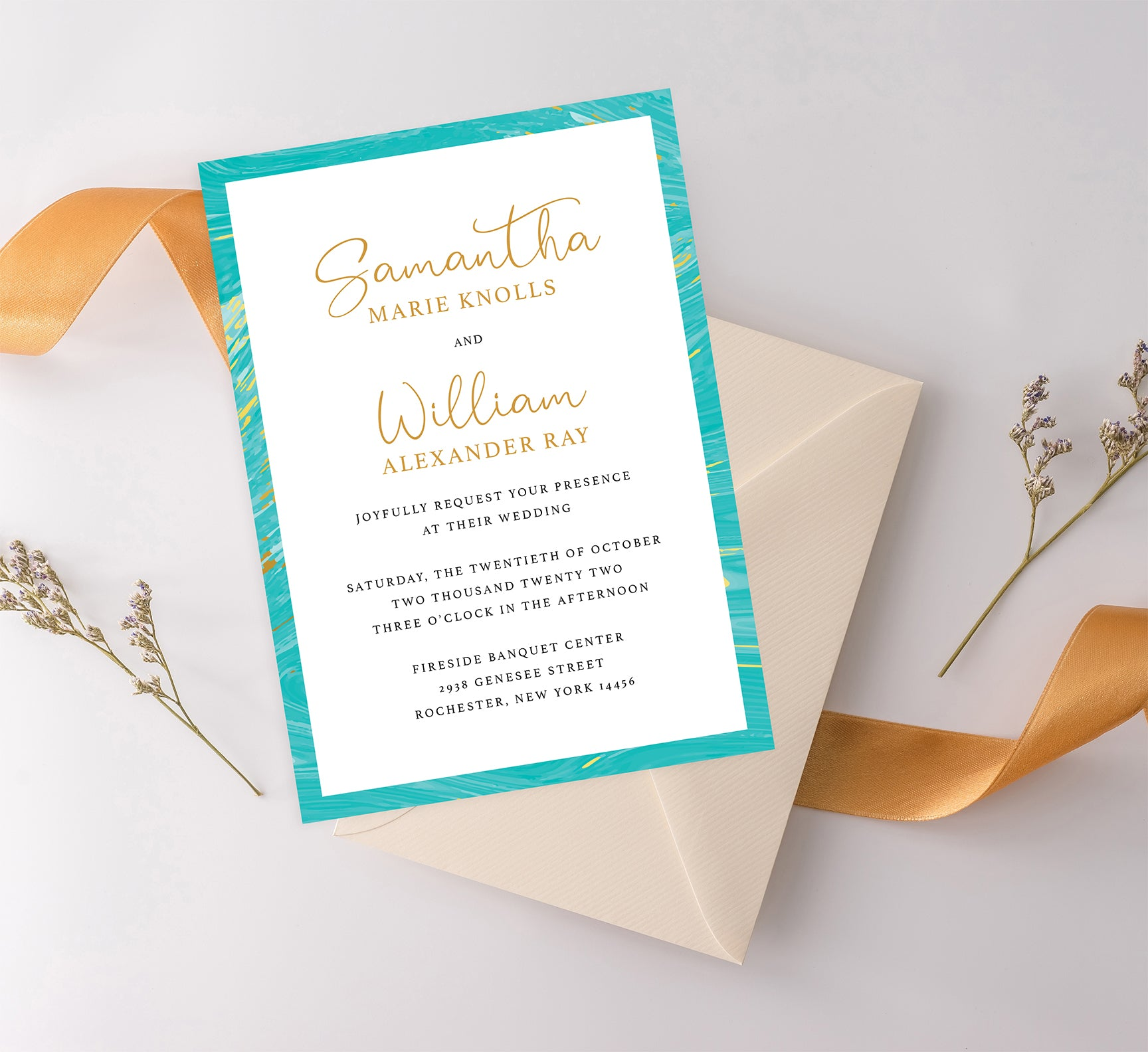 Teal and Gold Marble RSVP