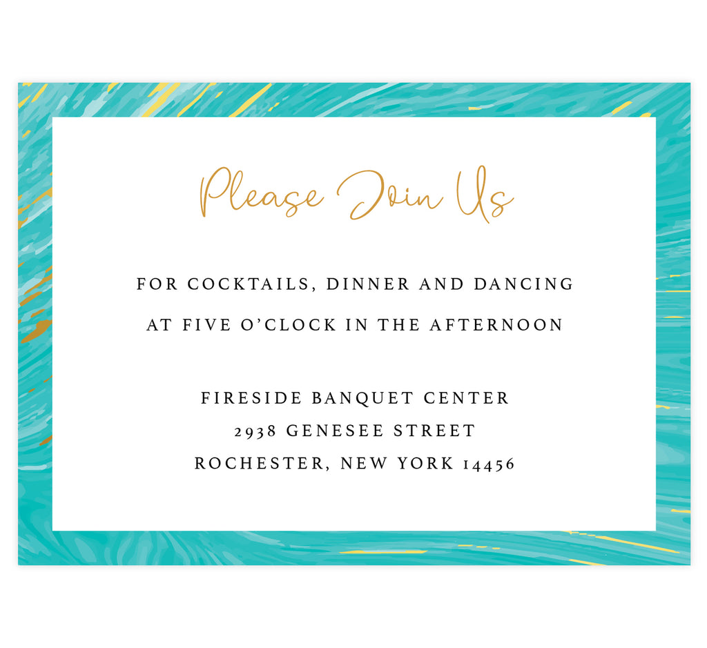Teal and gold marble wedding reception card; white background with marble teal and gold frame on the outside edges, black and gold text