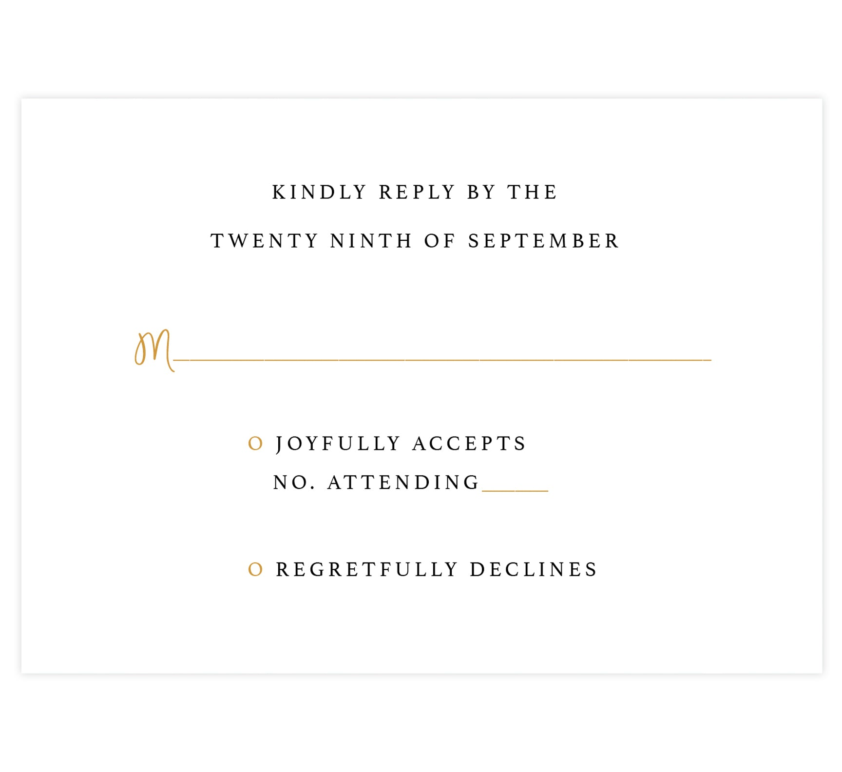 Teal and gold marble wedding response card; white background with black and gold text