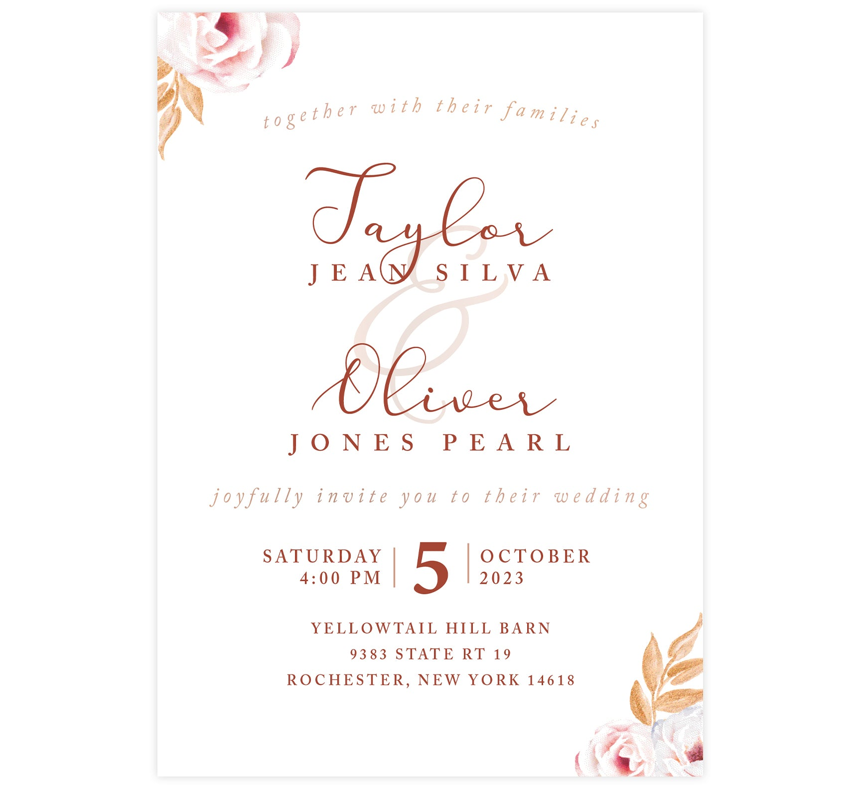 Romantic Pinks wedding invitation; a white background with text different shades of pinks and roses in opposing corners