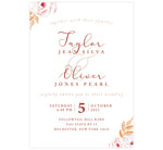Load image into Gallery viewer, Romantic Pinks wedding invitation; a white background with text different shades of pinks and roses in opposing corners