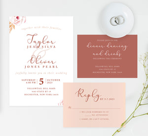 Romantic Pinks wedding invitation and set