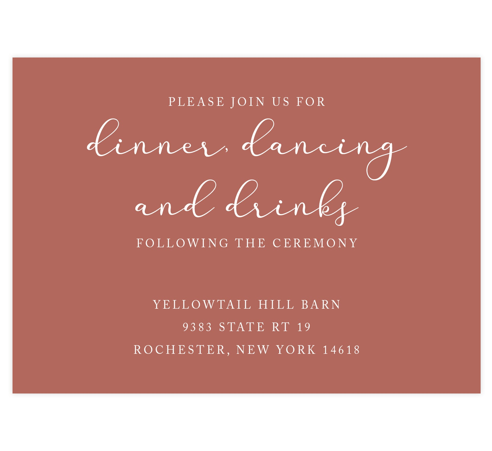 Romantic Pinks wedding reception card; light rust colored background with white text