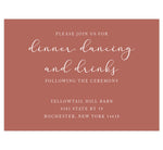 Load image into Gallery viewer, Romantic Pinks wedding reception card; light rust colored background with white text