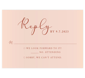 Romantic Pinks wedding response card; blush pink background with rust colored text