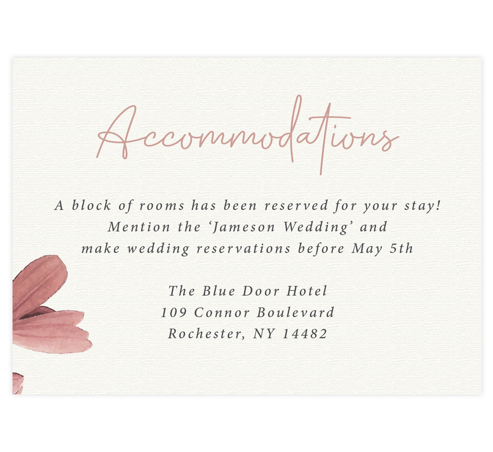 Always Love wedding detail/accommodations card; cream textured background with flower in the bottom left side with pink and black text