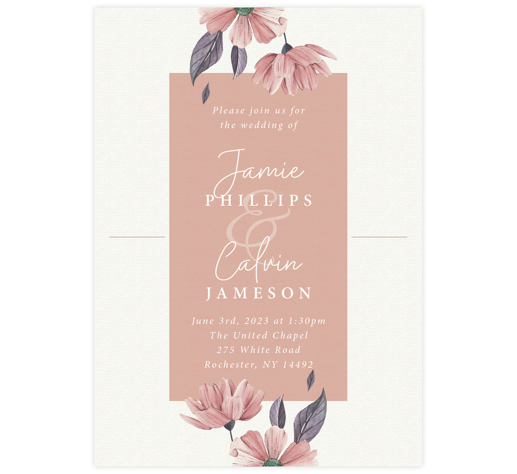 Always Love wedding invitation; textured cream background with pink box in the middle, watercolor pink flowers at the top and bottom and white text.