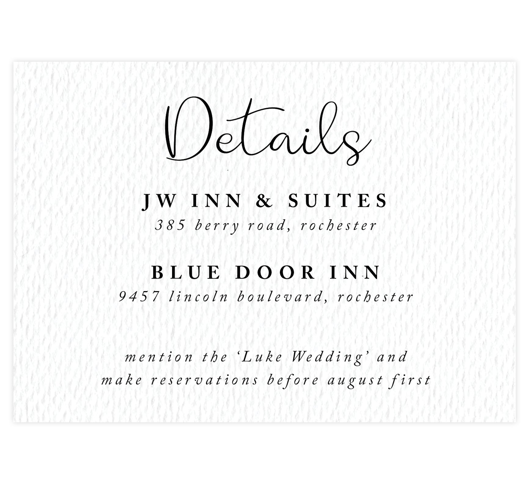 Hand Drawn Ceremony wedding accommodations/detail card; white textured background with black text