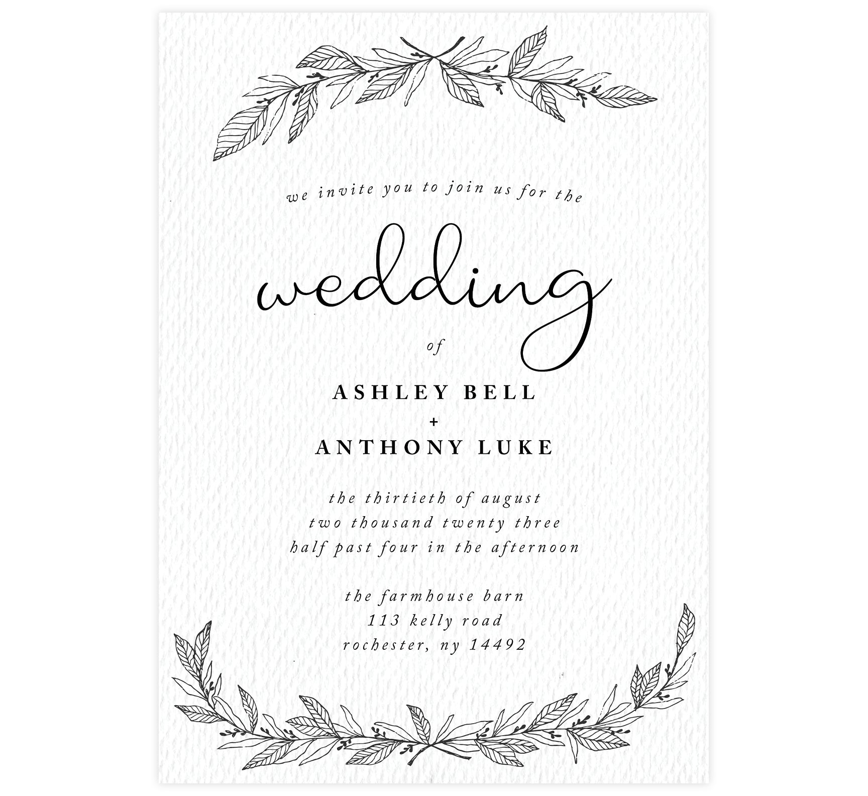 Hand Drawn Ceremony wedding invitation; textured white background with hand drawn leaves at the top and bottom and black text