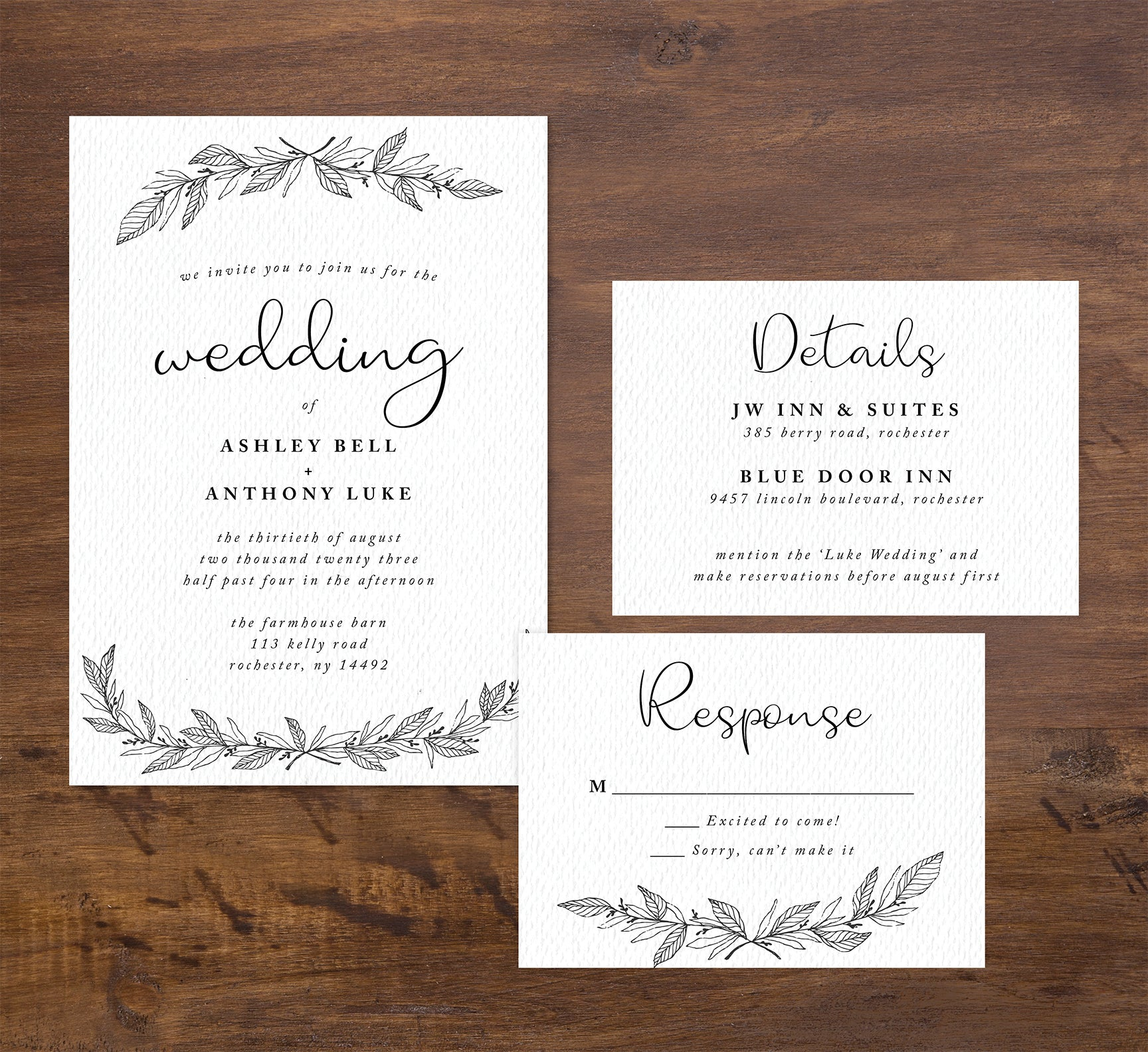 Hand Drawn Ceremony wedding set mockup