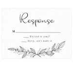 Load image into Gallery viewer, Hand Drawn Ceremony wedding response card; white textured background with hand drawn leaves at the bottom and black text