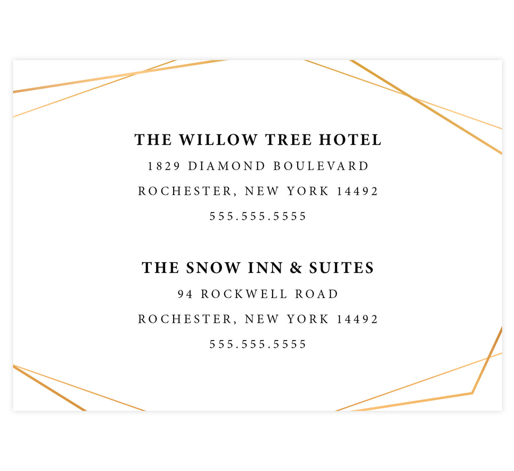 Coral Flowers wedding accommodations/detail card; white background with black text and gold frame around the edges.