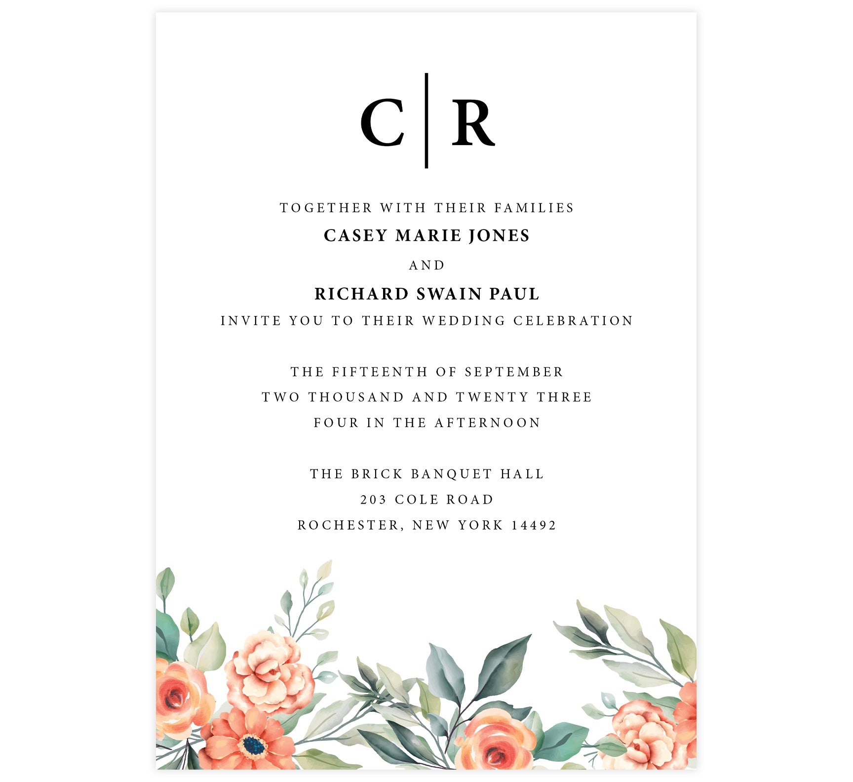 Coral Flowers wedding invitation; white background with black text and coral flowers at the bottom edge