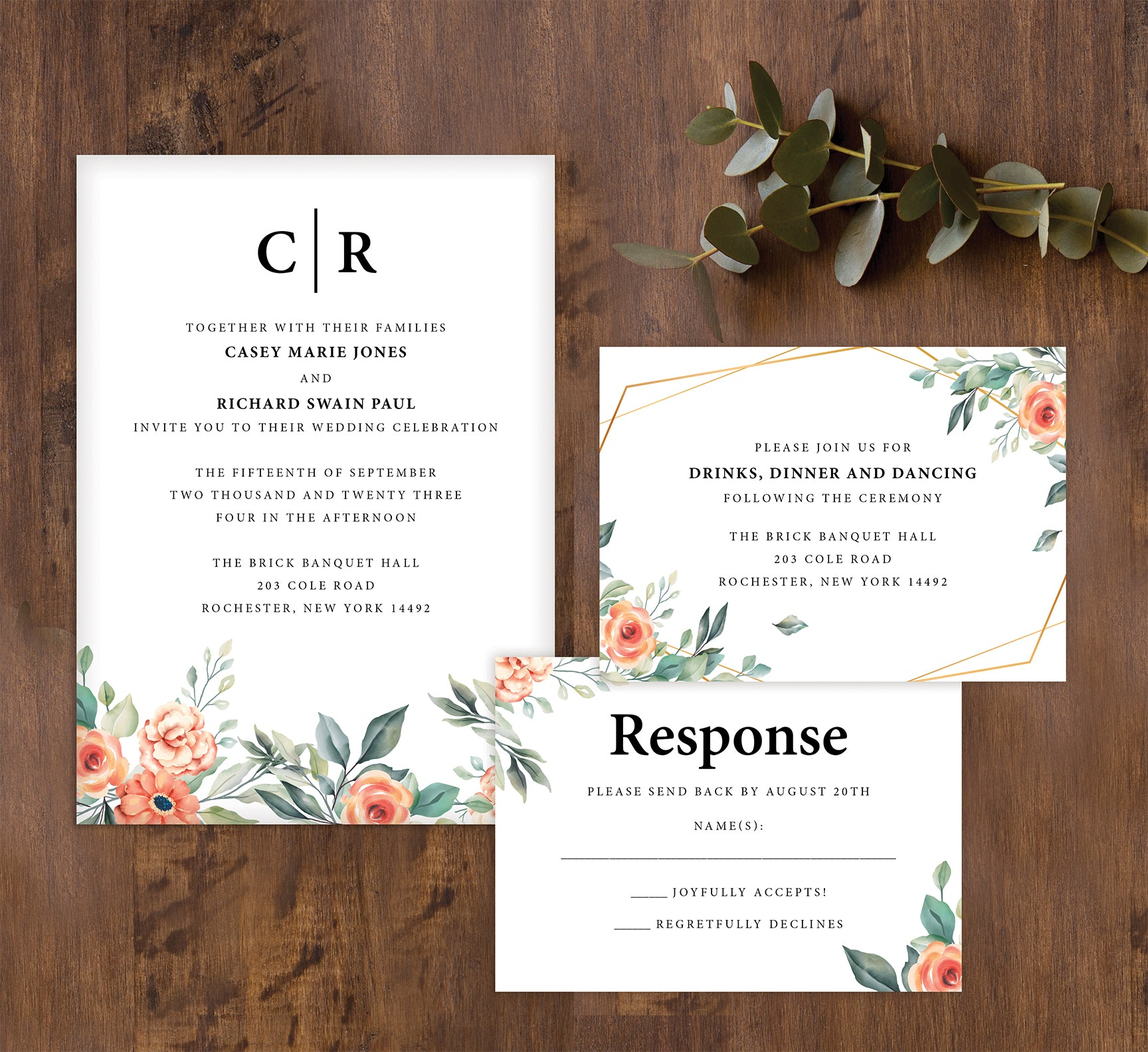 Coral Flowers wedding invitation and set mockup