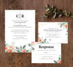 Load image into Gallery viewer, Coral Flowers wedding invitation and set mockup