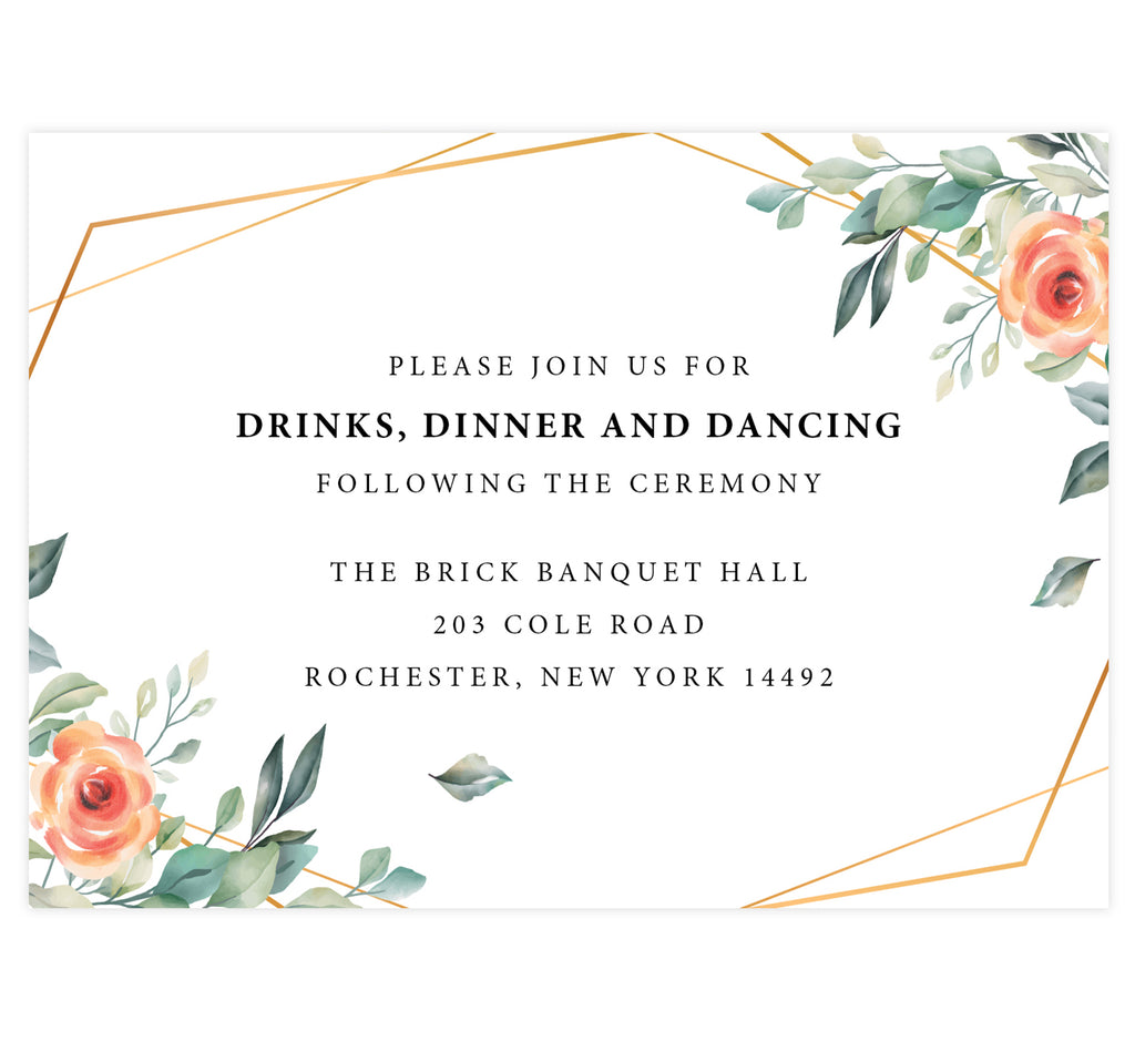 Coral Flowers wedding reception card; white background with gold frame and coral florals on the left and right edges with black text