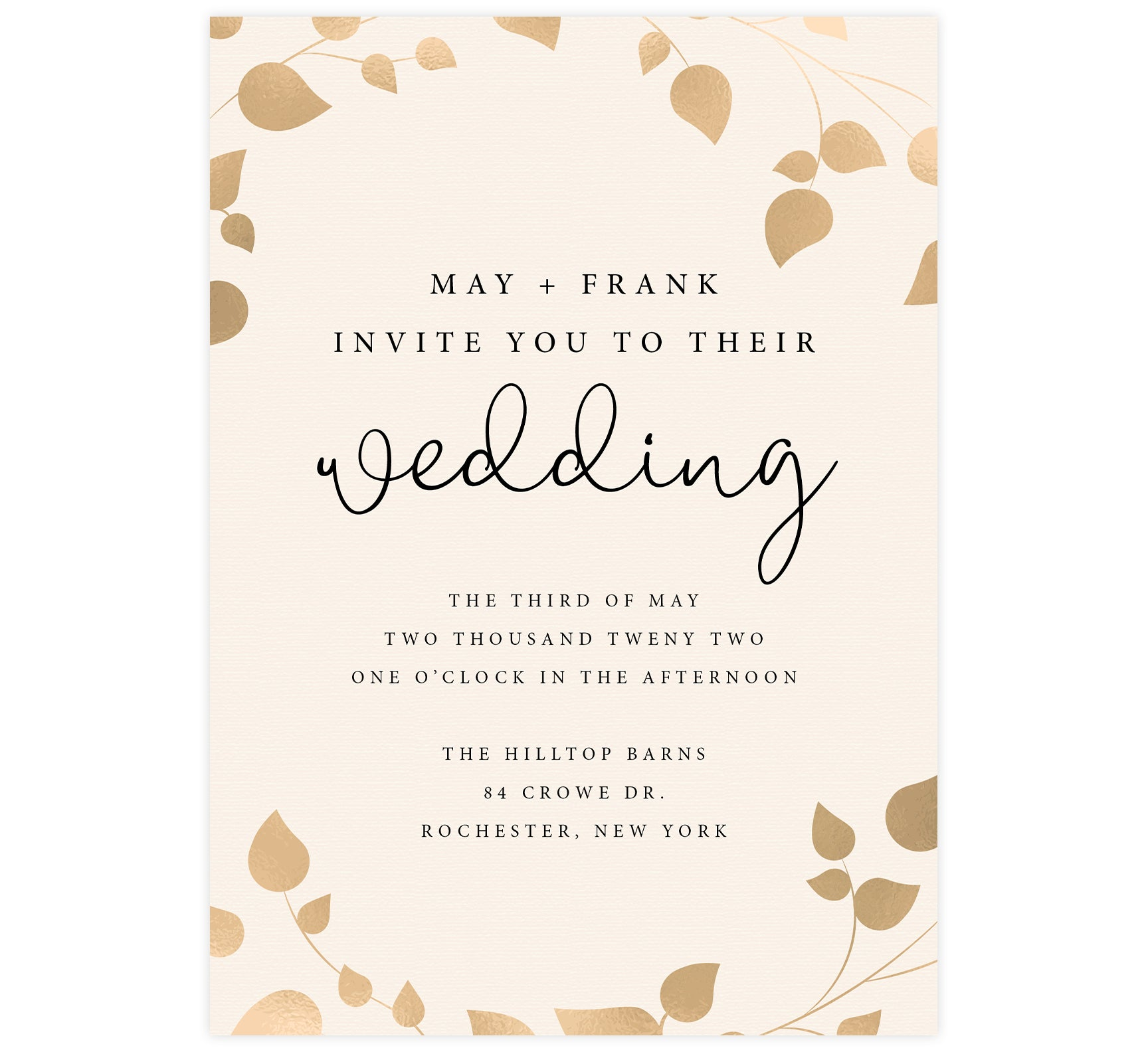 Elegant Celebration Wedding invitation; cream textured background with gold leaves around the edges and black text
