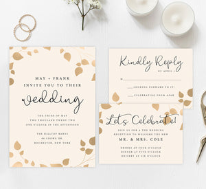 Elegant celebration wedding set mockup